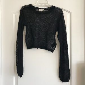 Black knitted long sleeve top